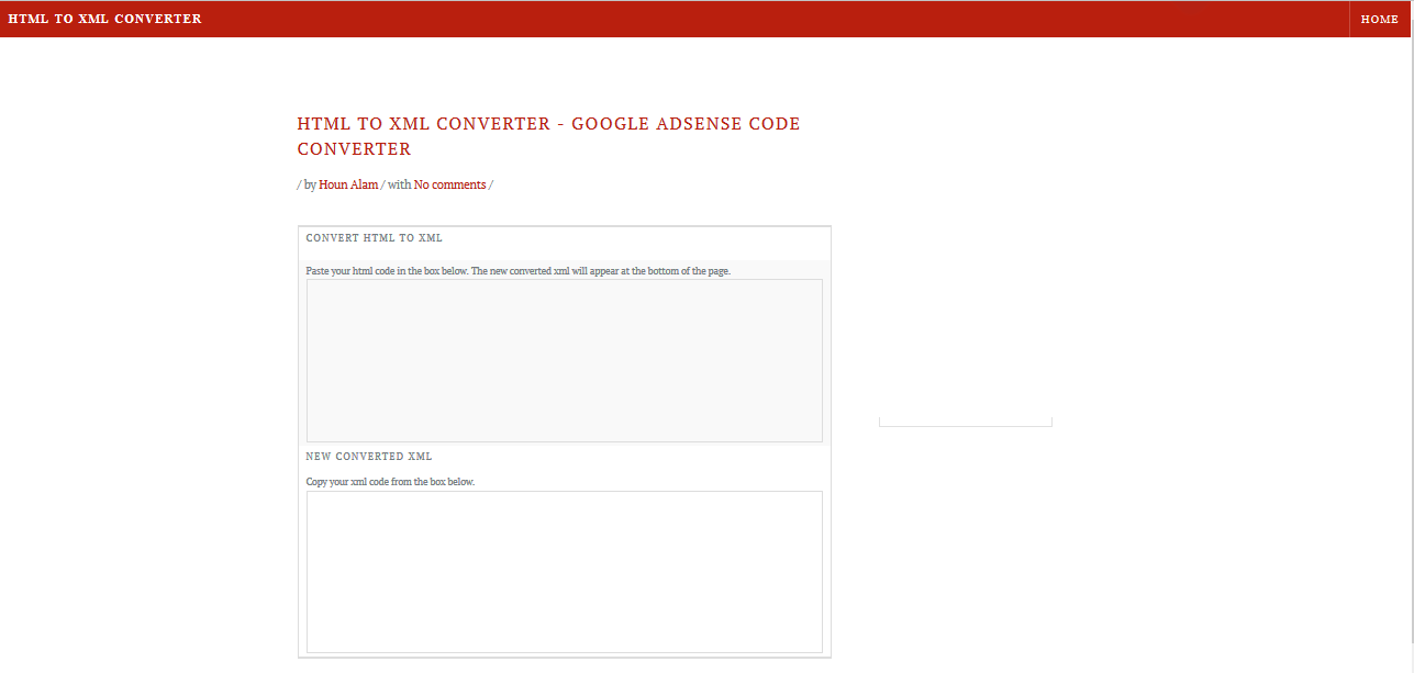 Adsense code converter - HTML to XML converter