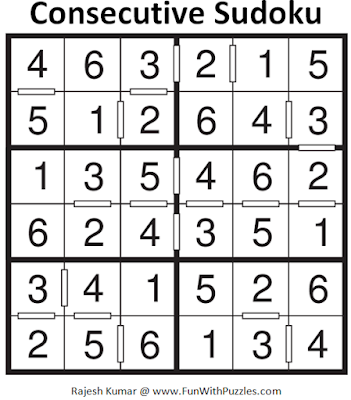 Consecutive Sudoku (Mini Sudoku Series #57) Solution