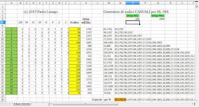 Fig. 3  - Foglio di calcolo CASUALE per gli 8 relè del modulo HL-58S di Paolo Luongo