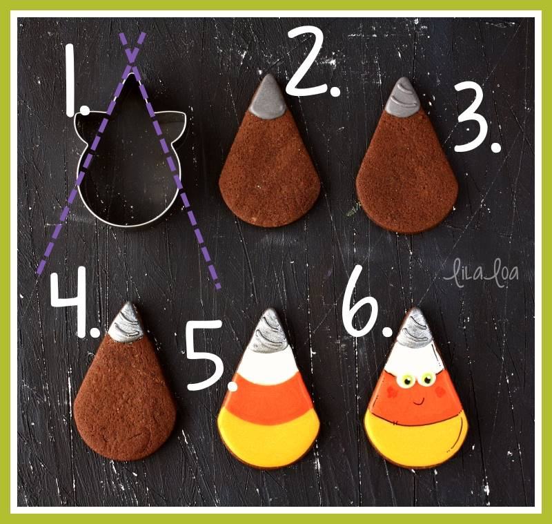 Step-by-step unicorn candy corn sugar cookie decorating tutorial
