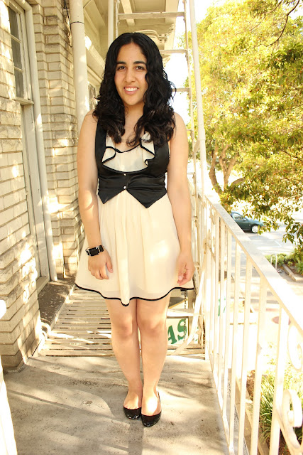 Black and Cream Forever 21 Dress