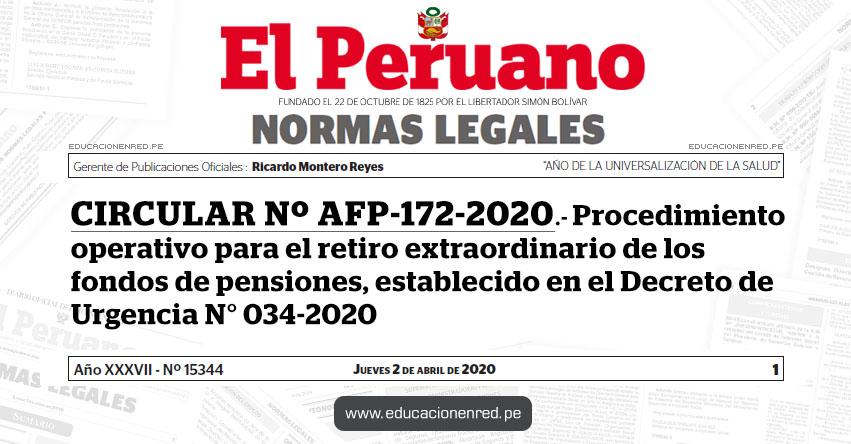 CIRCULAR Nº AFP-172-2020.- Procedimiento operativo para el retiro extraordinario de los fondos de pensiones, establecido en el Decreto de Urgencia N° 034-2020