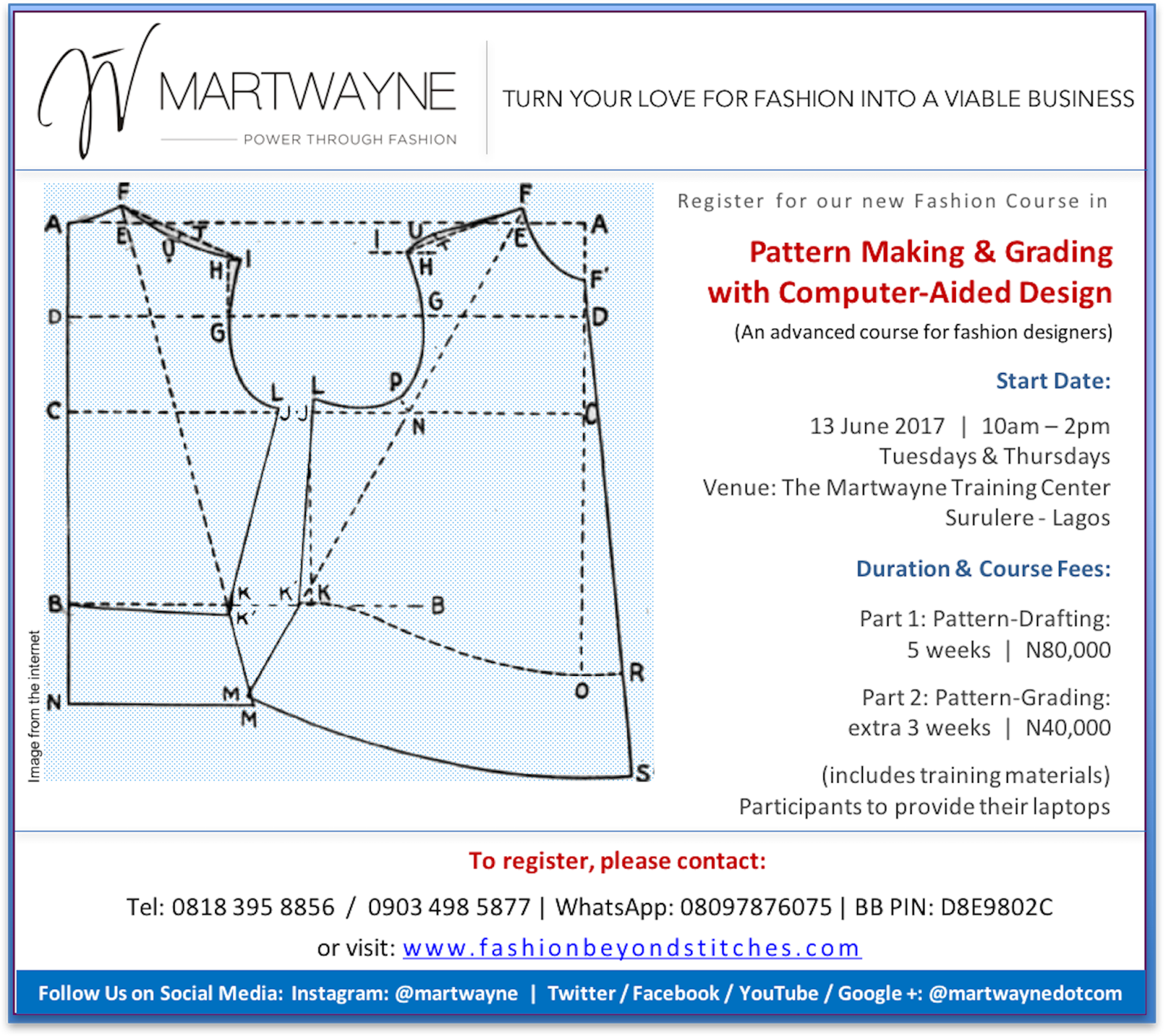 Martwayne Power Through Fashion Pattern Making Grading With Computer Aided Design Course Starts 13 June 2017 Registration Has Started