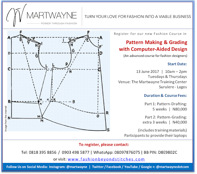 Pattern Making & Grading with Computer Aided Design Course starts 13 June 2017.  Registration has started!!!!!