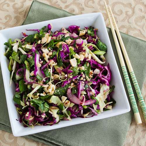 Spicy Thai Style Cabbage Slaw with Mint and Cilantro