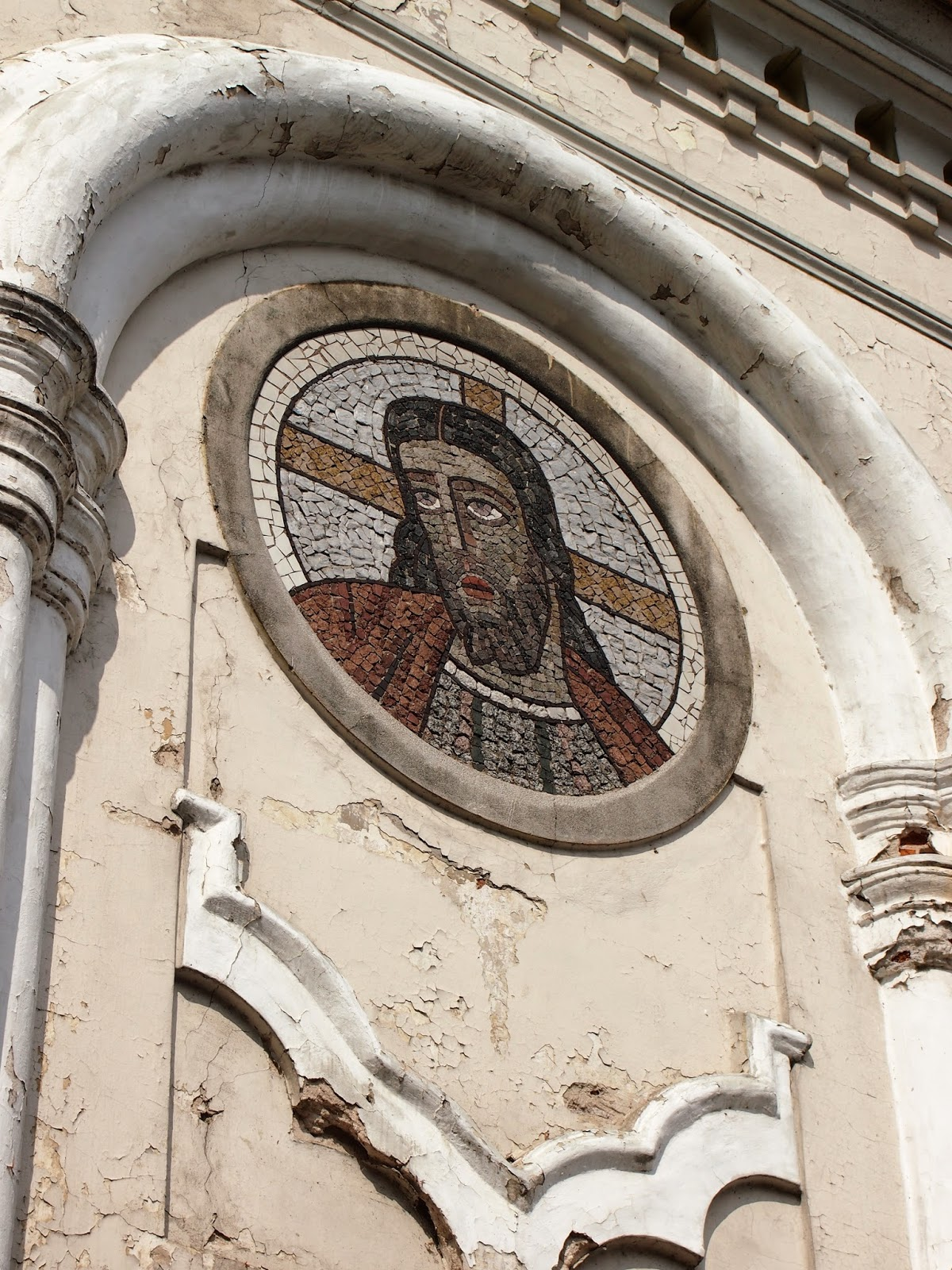 The face of Jesus Christ on a church in Old Town Kaunas