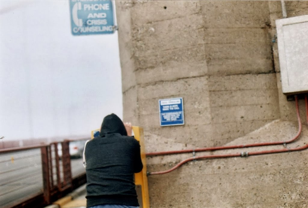 Man uses the suicide hotline on the Golden Gate Bridge.