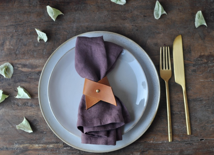 elegant DIY Leather Napkin Rings, perfect for your next festive dinner