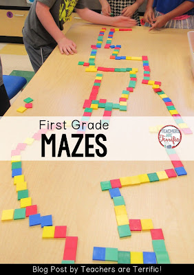 STEM in first grade! Fabulous mazes with easy materials and easy prep! Check this blog post for more!