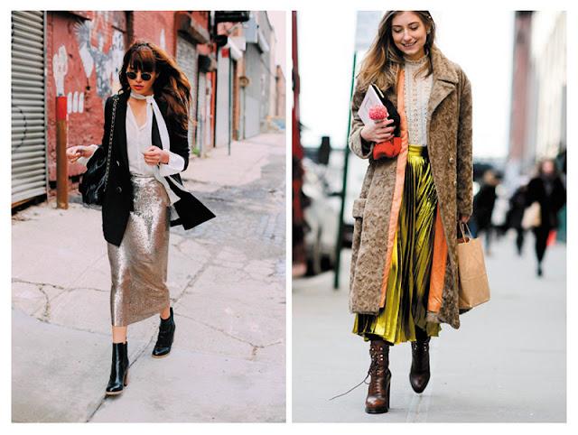 Юбка карандаш и плиссированная юбка из металлизированной ткани