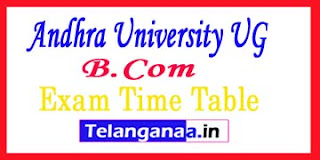 AU Andhra University UG (B.Com) Examination  Time Table 2017