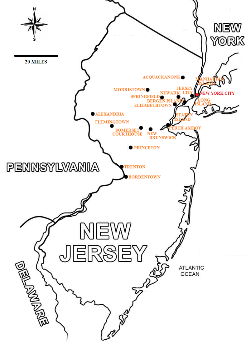 map of new jersey showing areas related to bv and his revolutionary war experiences