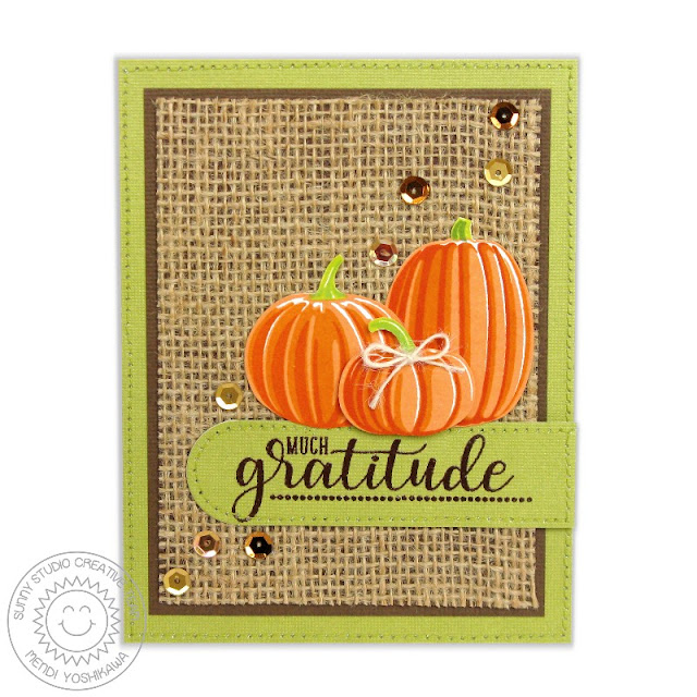 Sunny Studio Stamps: Pretty Pumpkins & Autumn Greetings Layering Fall Pumpkin Thank You Card by Mendi Yoshikawa