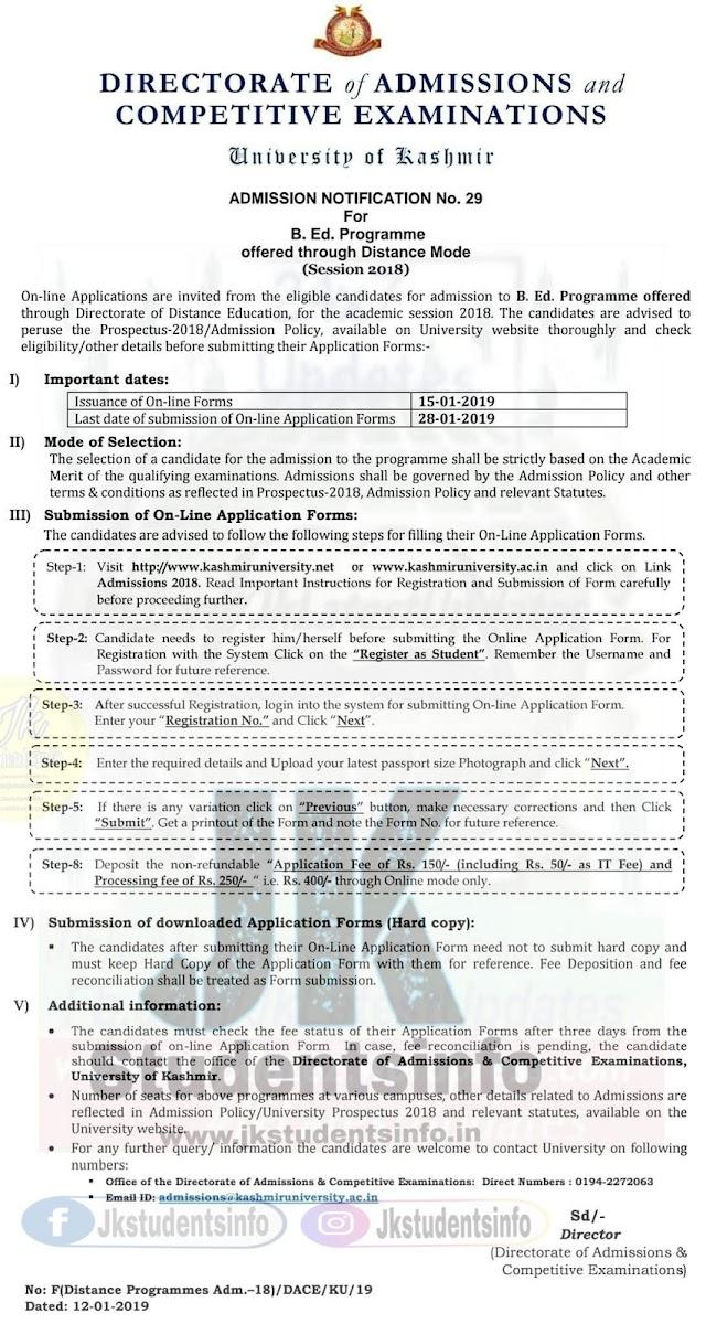 KU Online Application for B.Ed through Distance Education KU