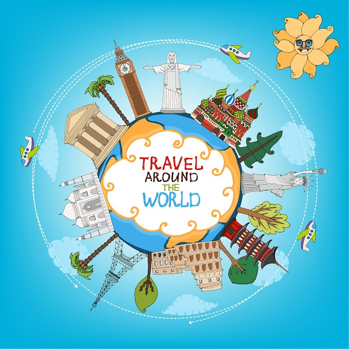 World travelling elements creative vector set Free vector