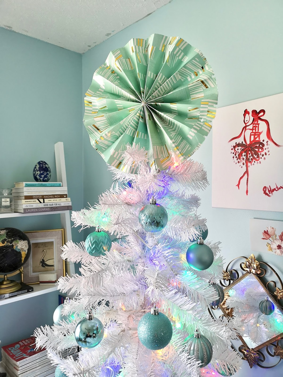 white christmas tree with tiffany blue ornaments