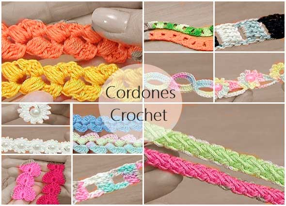 cordones crochet, cuerdas a ganchillo, tutoriales de cordones