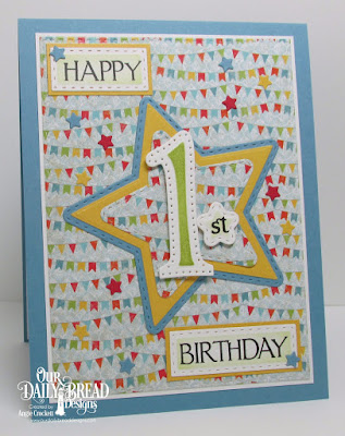 ODBD Custom Large Numbers Dies, ODBD Celebration, ODBD Custom Sparkling Stars Dies, ODBD Custom Double Stitched Stars Dies, ODBD Custom Double Stitched Rectangles Dies, ODBD Birthday Bash Paper Collection, ODBD Birthday Brights Paper Collection, Card Designer Angie Crockett