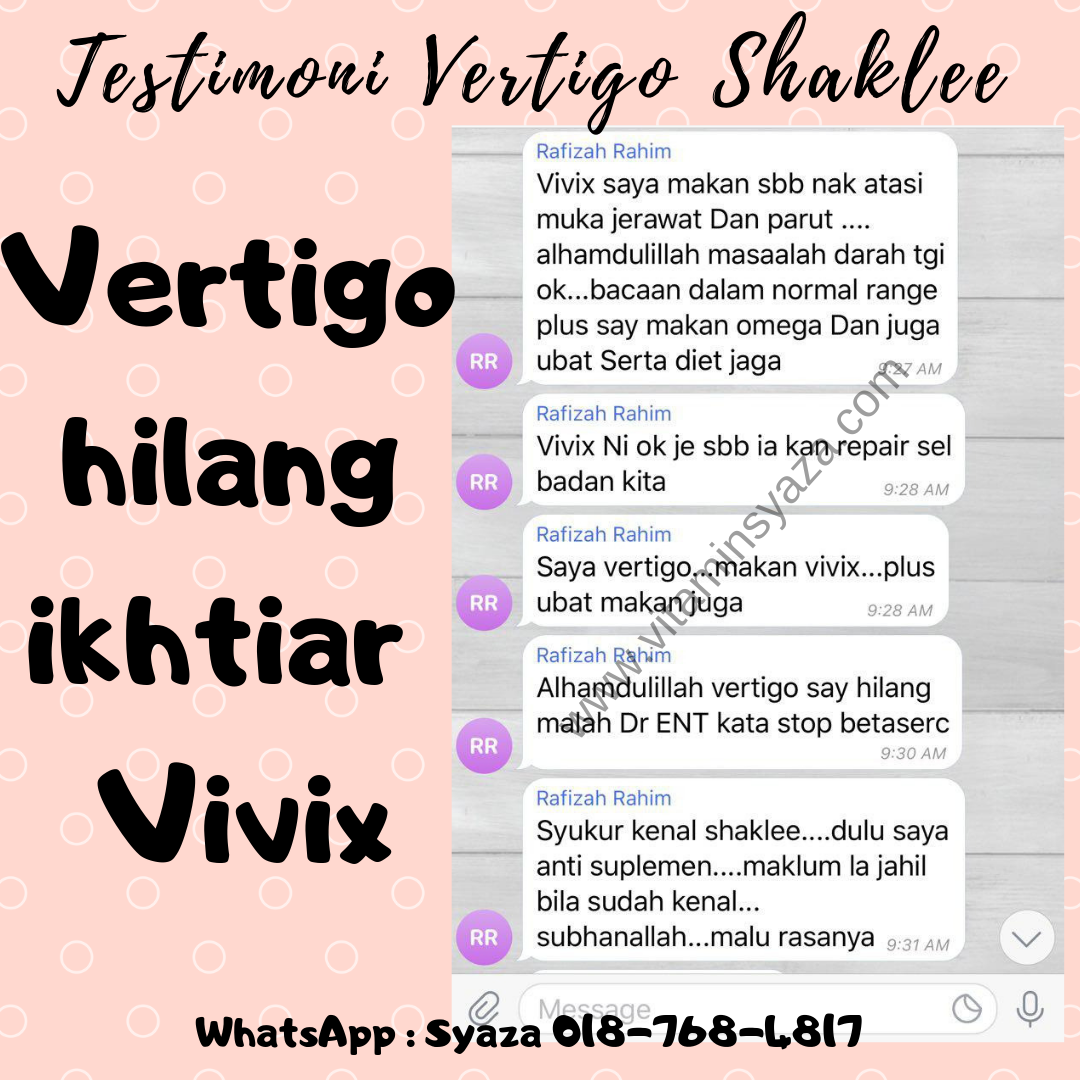 vivix shaklee dan masalah vertigo
