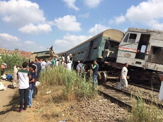 تفاصيل تصادم قطارين في مصر بالإسكندرية