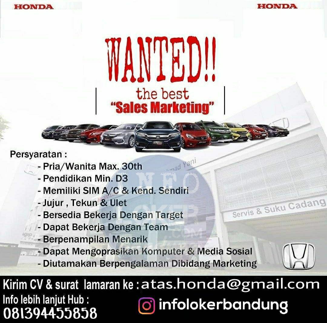 Lowongan Kerja Honda Ahmad Yani Bandung April 2018