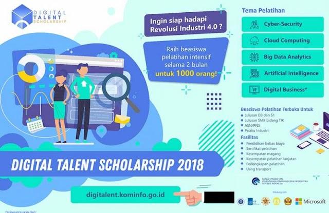 Beasiswa Pelatihan Intensif Digital Talent Indonesia oleh Kementerian Komunikasi dan Informatika RI