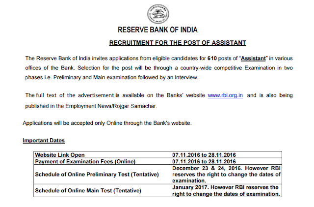 RBI Assistant 2016 Recruitment Advertisement (610 posts)