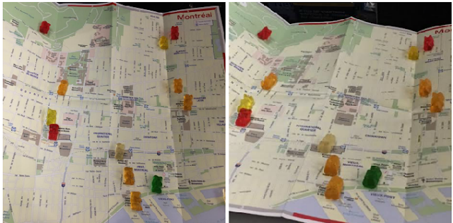 gummy bear map of Montréal