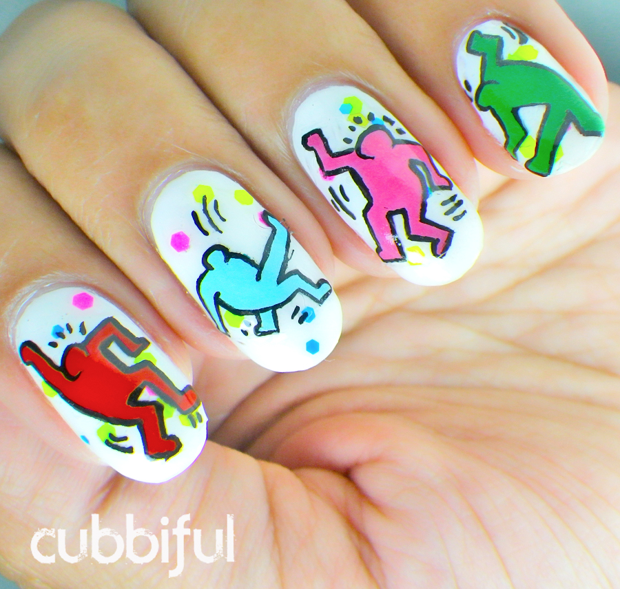 party nails inspired by Keith Haring