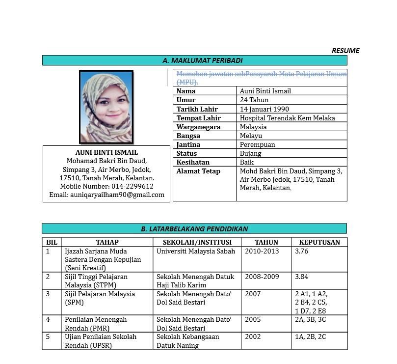 3 Contoh Resume Terbaik Muatturun Edit Contoh Resume Terkini