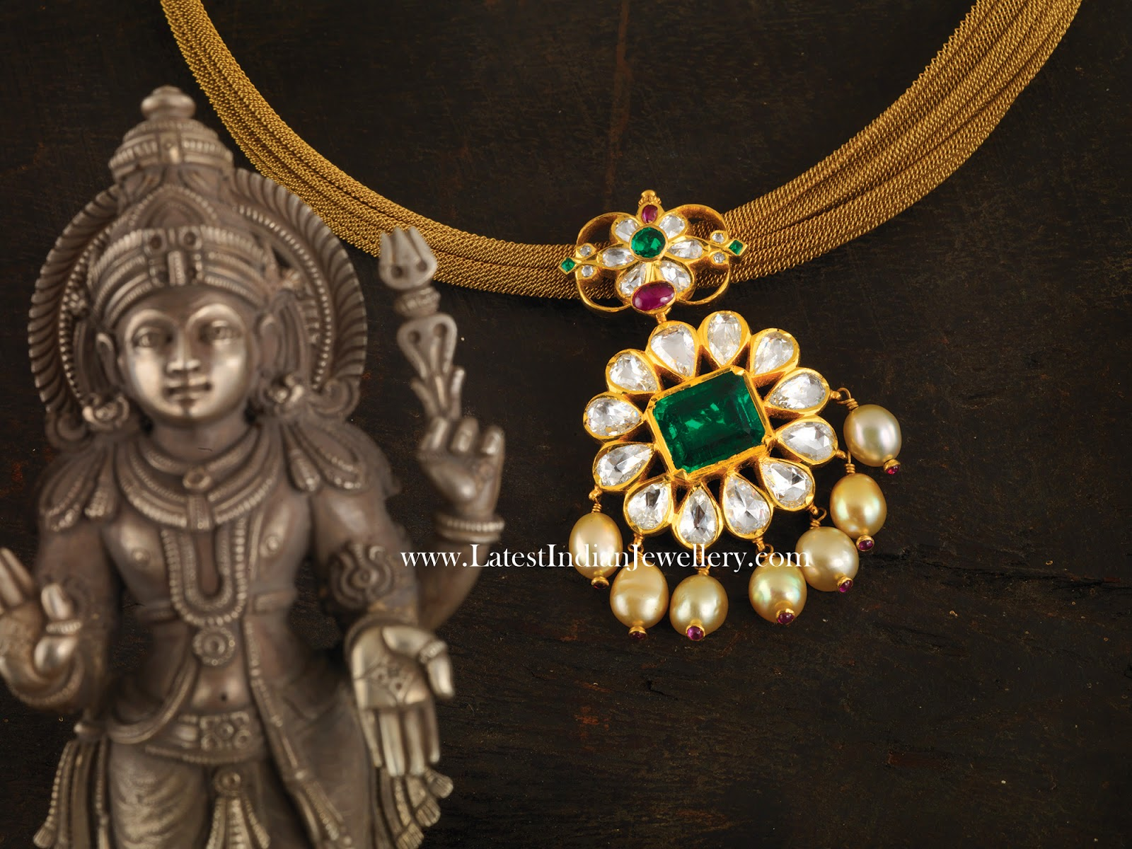 Fancy Mesh Chain With Traditional Polki Pendant Latest