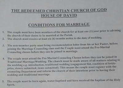 It's Bishop Odukoya's blog   : Photos: Lists of the conditions for