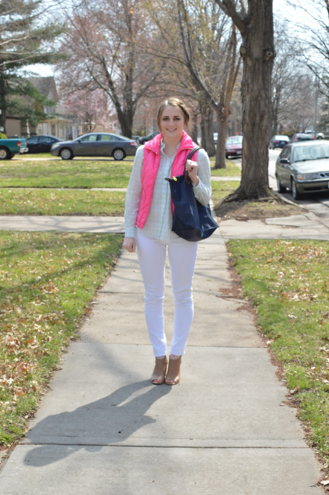 cute outfit ideas with a pink puffer vest
