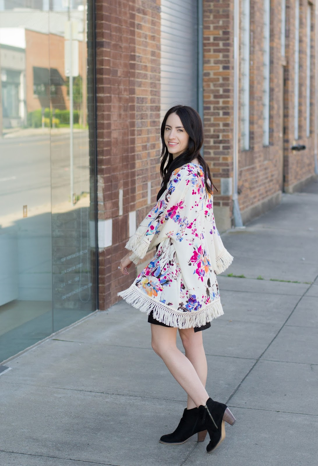 Summer outfit with lightweight floral kimono