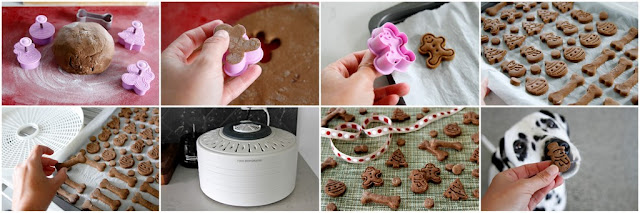 Step-by-step instructions for making Christmas dog treats with plunger cookie cutters