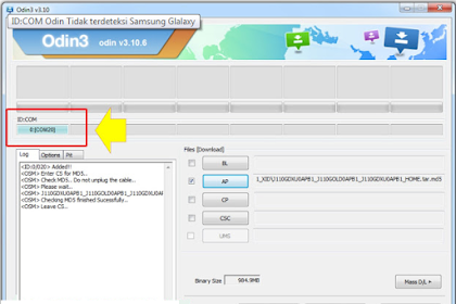 ID:COM Odin Tidak Mendeteksi Samsung Glalaxy