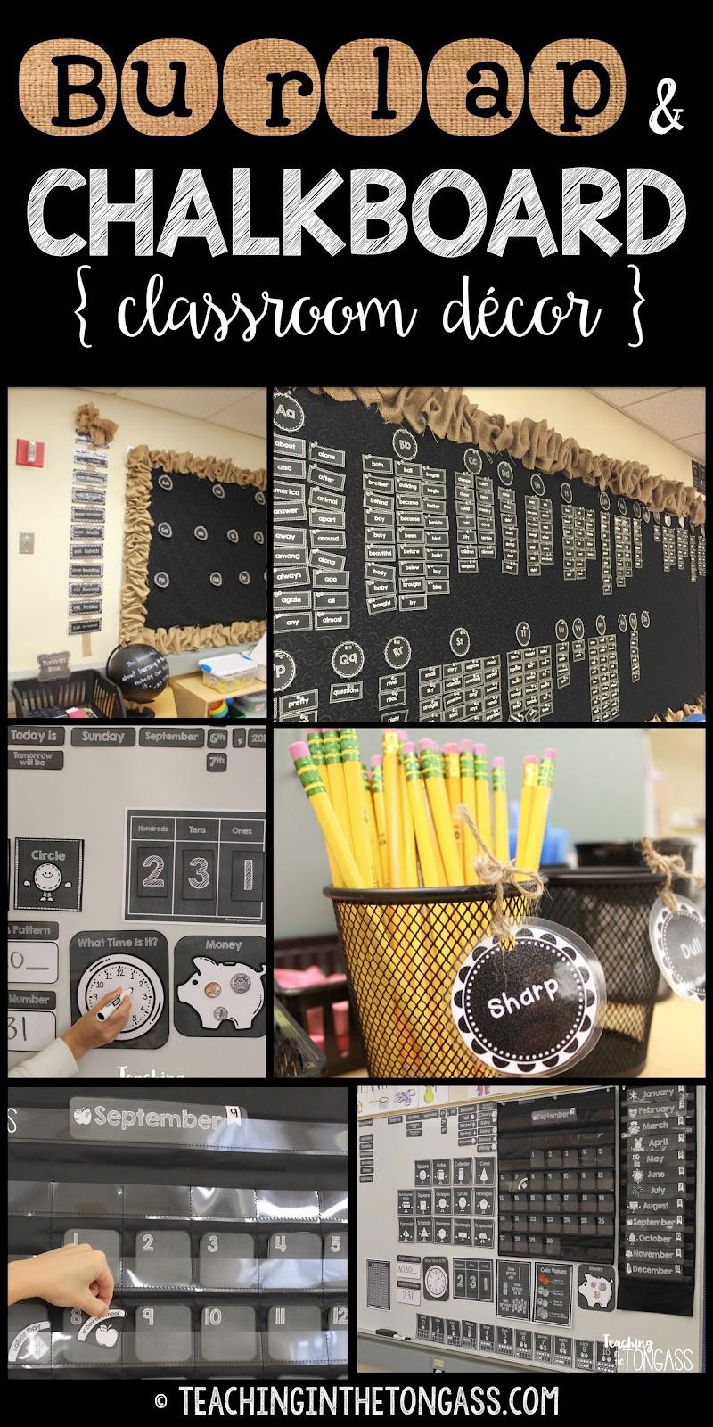 Teacher Classroom Decor Websites ~ Burlap and chalkboard bulletin board classroom decor