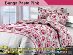 Sprei Custom Katun Lokal Dewasa Bunga Pasta Pink Bunga Floral Pattern Putih Pink