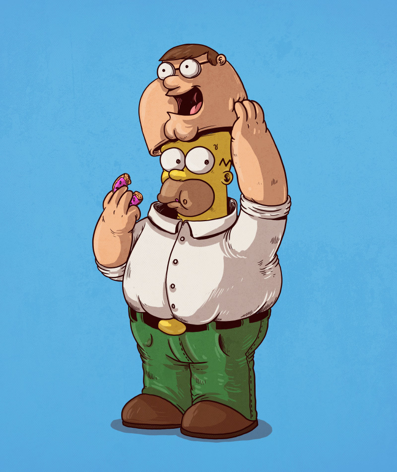 04-Peter-Griffin-Family-Guy-Homer-Simpson-Alex-Solis-Illustrations-of-Icons-Unmasked-www-designstack-co