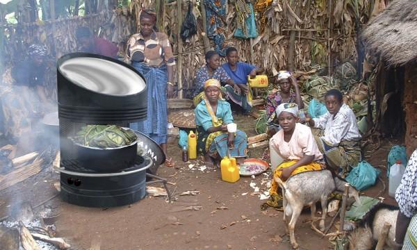 Grelhador solar cozinha alimentos sem carvão ou lenha
