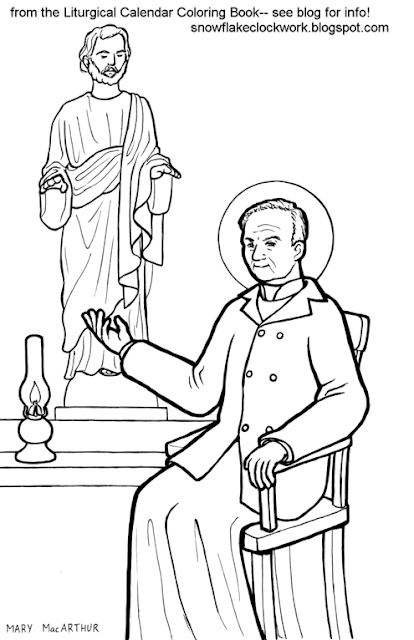Snowflake Clockwork: St. Andre Bessette coloring page