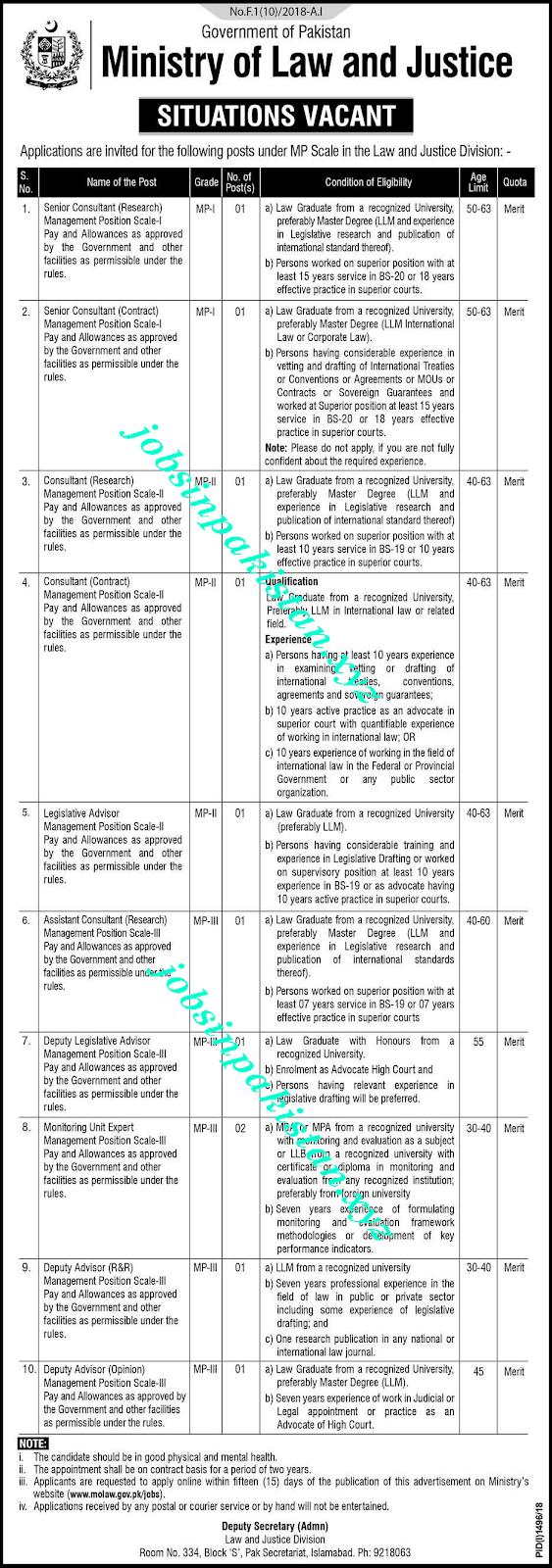 Ministry of Law and Justice Jobs 2018 Advertisement