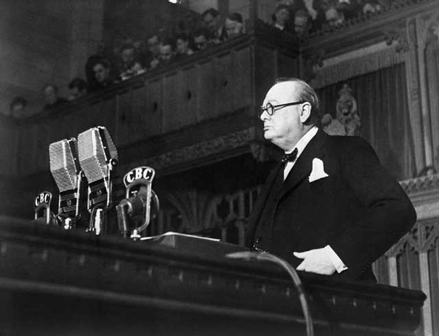 Winston Churchill addressing the Canadian Parliament on 30 December 1941 worldwartwo.filminspector.com