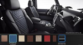 Nội thất Mercedes G500 2018 màu Đen / Xanh Deep-Sea SR4