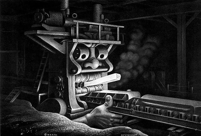a Boris Artzybasheff illustration of a steel factory