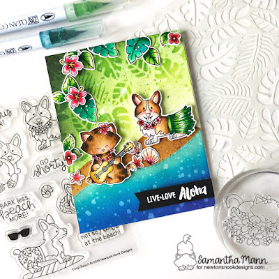 Live, Love, Aloha Card by Samantha Mann for Newton's Nook Designs, Summer, Cards, Handmade Cards, Distress Inks, Ink Blending, Stencil, #distressinks #newtonsnook #handmadecards #cards #summer #island #beach #stencil #inkblending