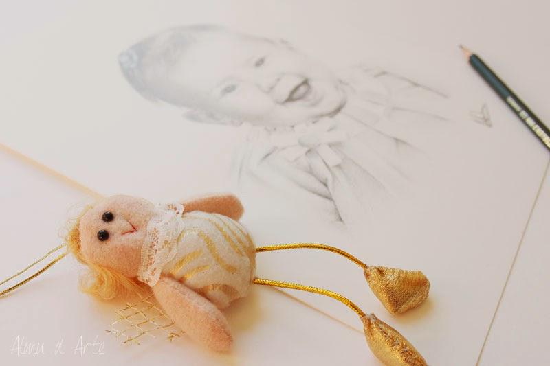 Retrato infantil a lápiz sobre papel