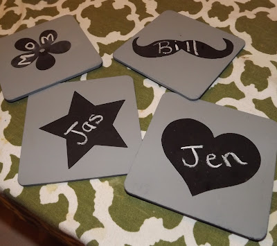 coaster, chalk, chalkboard paint, chalkboard, mustache, heart, star, flower