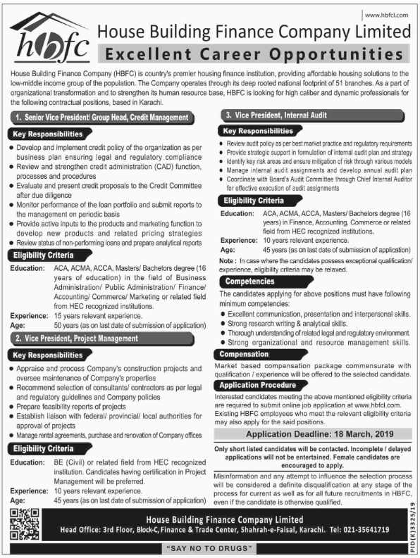 Advertisement for HBFC Jobs March 2019