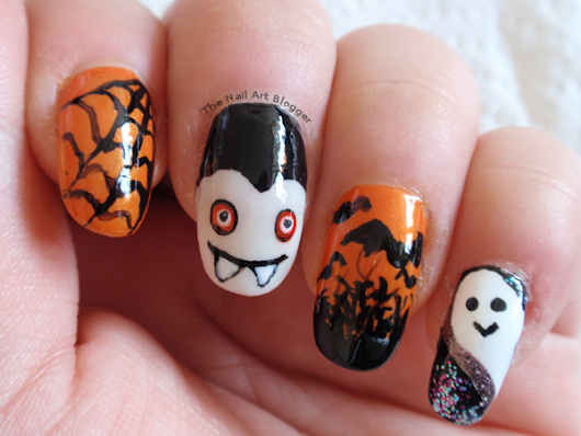 Halloween skittle nails